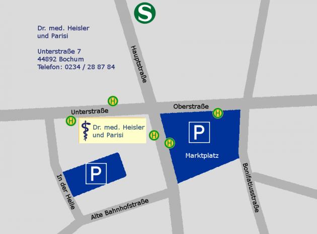 Anfahrtsbeschreibung auf einer Karte